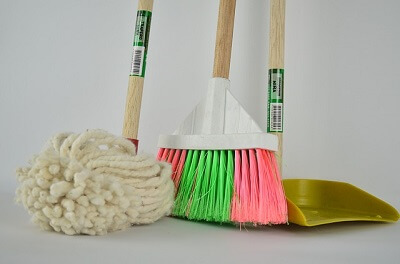 cleaning tools in a home in Bournemouth