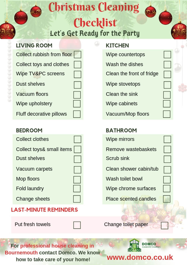 Christmas Cleaning Checklist